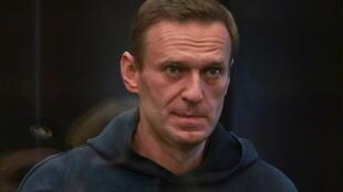 Alexeï Navalny lors de son audience du 2 février 2021 dans un tribunal de Moscou.