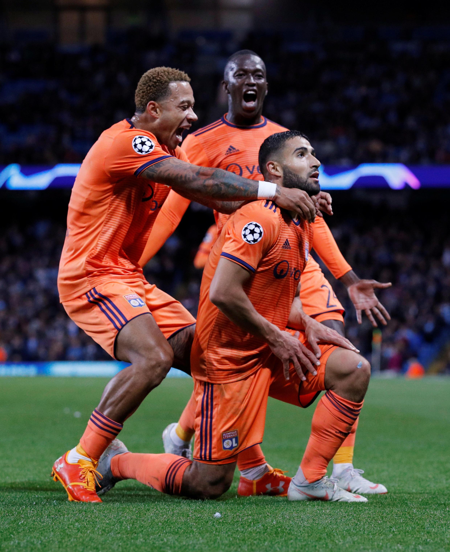 Nabil Fekir et ses coéquipiers lyonnais ont signé une belle victoire sur la pelouse de Manchester City, le 19 septembre 2018.