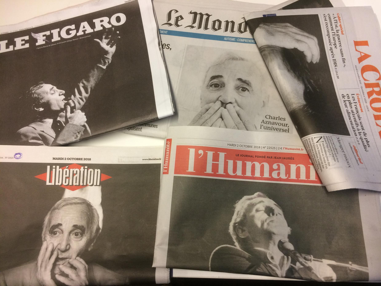 Primeiras páginas dos jornais franceses de 02 de outubro de 2018