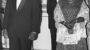 Agathe et Juvenal Habyarimana, le 14 avril 1977 à Paris.