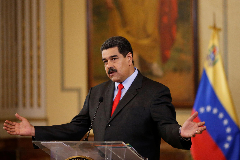 Le président du Venezuela Nicolas Maduro, lors d'une conférence de presse le 15 février à Caracas.