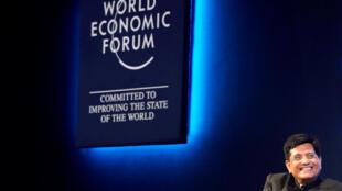 El ministro de Ferrocarril y Carbón de India, Piyush Goyal, durante el Foro Económico Mundial (WEF) en Davos, Suiza, el 23 de enero de 2018.