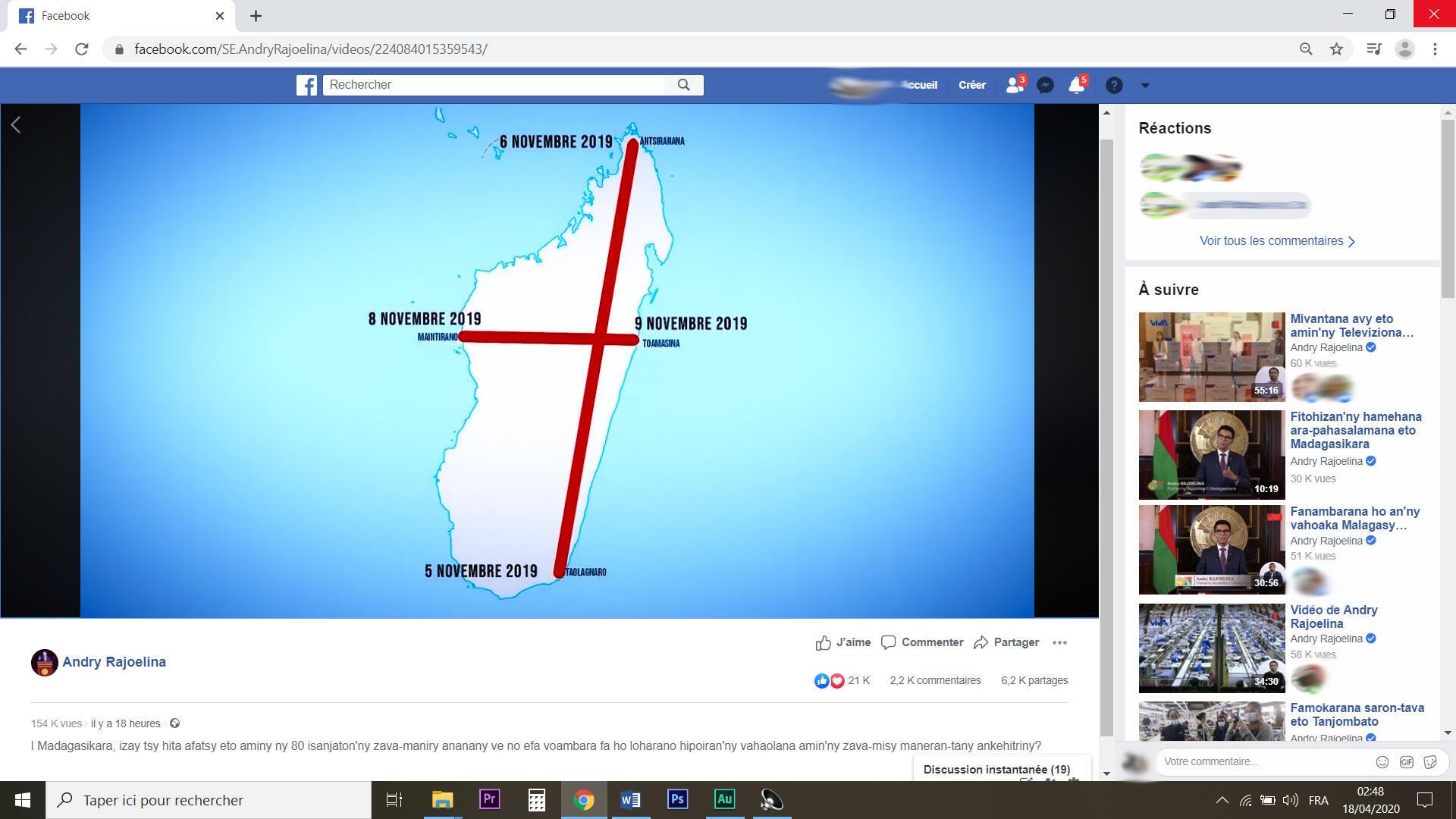 Sur la page facebook officielle du chef de l'Etat, le lien pour visionner le documentaire. A l'image, le trajet que la Brésilienne aurait réalisé : un survol de Madagascar en forme de Croix, pour bénir l'île.