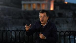 Stavros Theodoraki, leader du parti To Potami («Le Fleuve»), le 23 avril 2014 sur l'île de Corfou en Grèce.