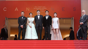 中国电影刁亦男与南方车站的聚会演员板子在戛纳电影节,2019年5月18号。