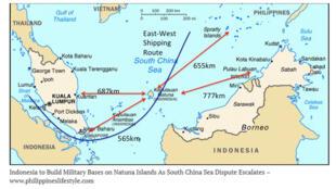 Khu vực quần đảo Natuna của Indonesia, phía nam Biển Đông, nơi Trung Quốc cũng đòi hỏi một phần chủ quyền.