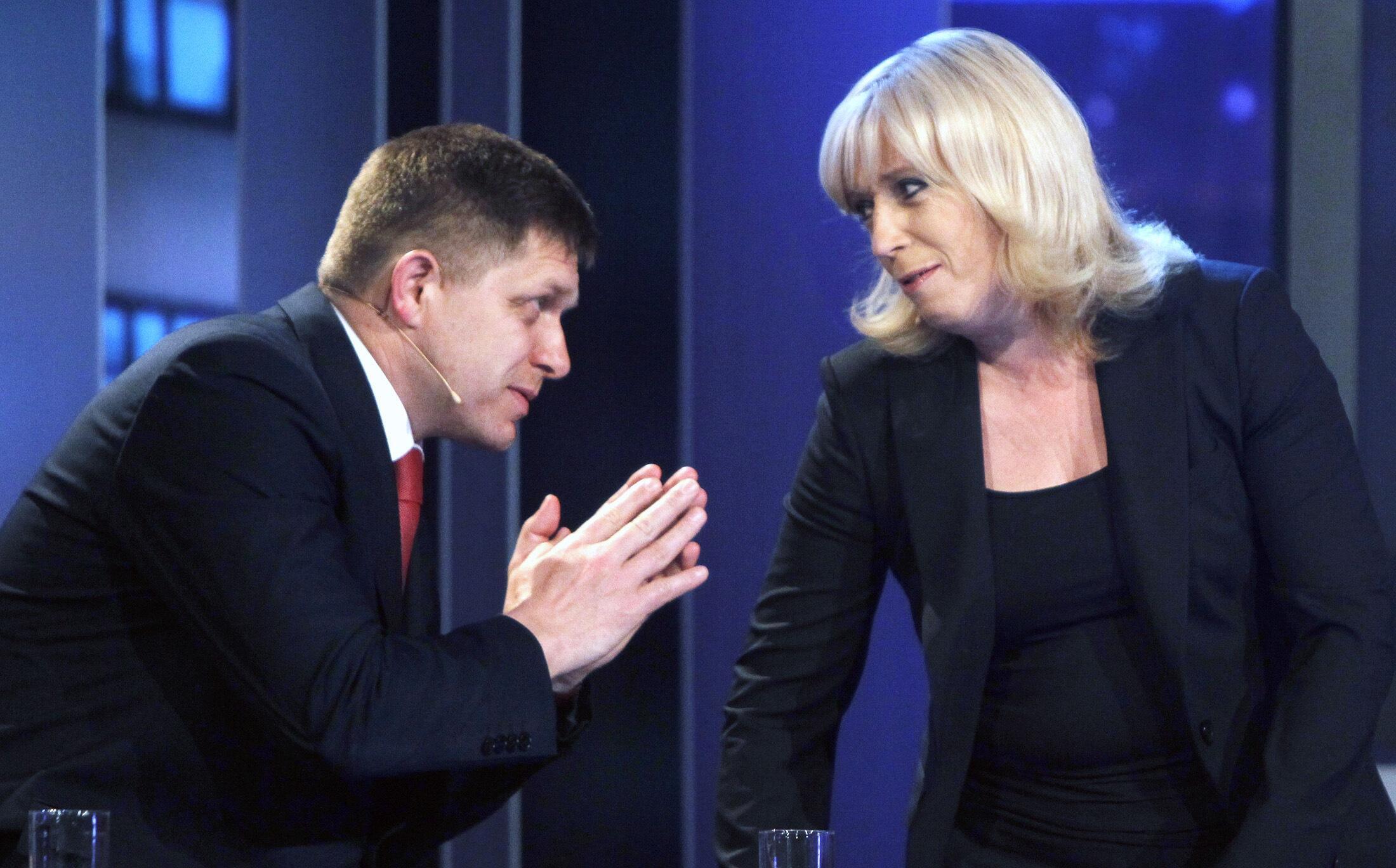 Лидер социал-демократов, премьер-министр Роберт Фицо и Ивета Радичова, возможный претендент на пост главы правительства Словакии