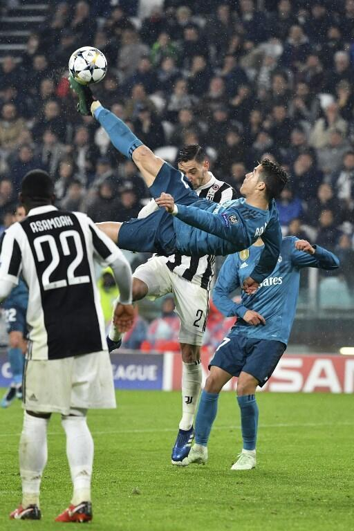 O golo de pontapé de bicicleta de Cristiano Ronaldo face à Juventus, na primeira mão dos quartos-de-final da Liga dos Campeões. 3 de Abril de 2018.