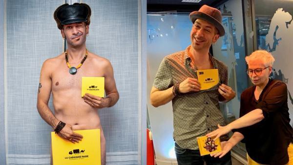 (A gauche) Toma Feterman présente son album Nomadic Spirit - (à droite) Toma Feterman et Laurence Aloir à RFI.