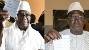 O Presidente cessante do Mali, Ibrahim Boubacar Keïta (à esquerda) defrontará o chefe da oposição, Soumaïla Cissé (à direita), na segunda volta da eleição presidencial, a 12 de Agosto de 2018.