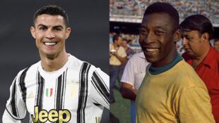 Le Portugais Cristiano Ronaldo (à gauche) en février 2021 et le Brésilien Pelé (à droite) en juin 1971.