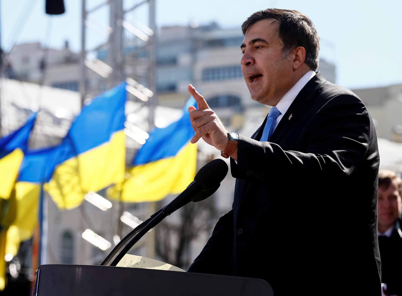 Михаил Саакашвили на манифестации в центре Киева, 29 марта 2014.
