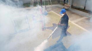 图为新加坡四处喷洒药物大力灭蚊