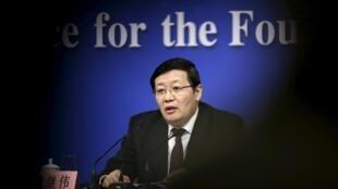 中國財政部長樓繼偉2016年3月7日在人大會議期間的記者會上。