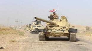Vikosi vya Iraq karibu na kijiji cha Falahat, magharibi mwa Fallujah.
