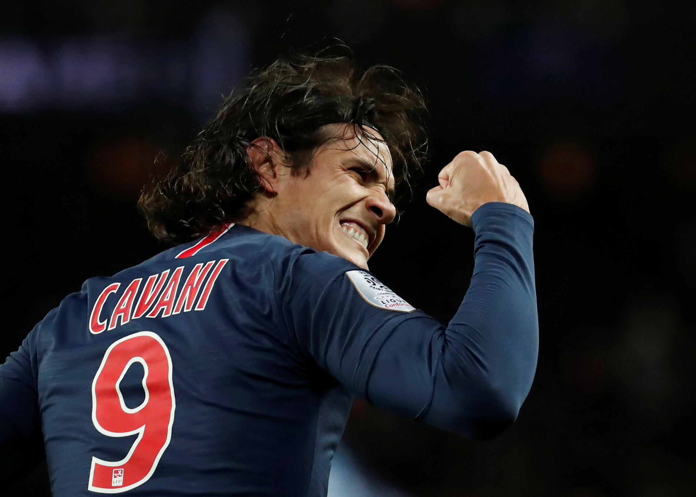 Edinson Cavani was substituted after scoring PSG's winner against Bordeaux.