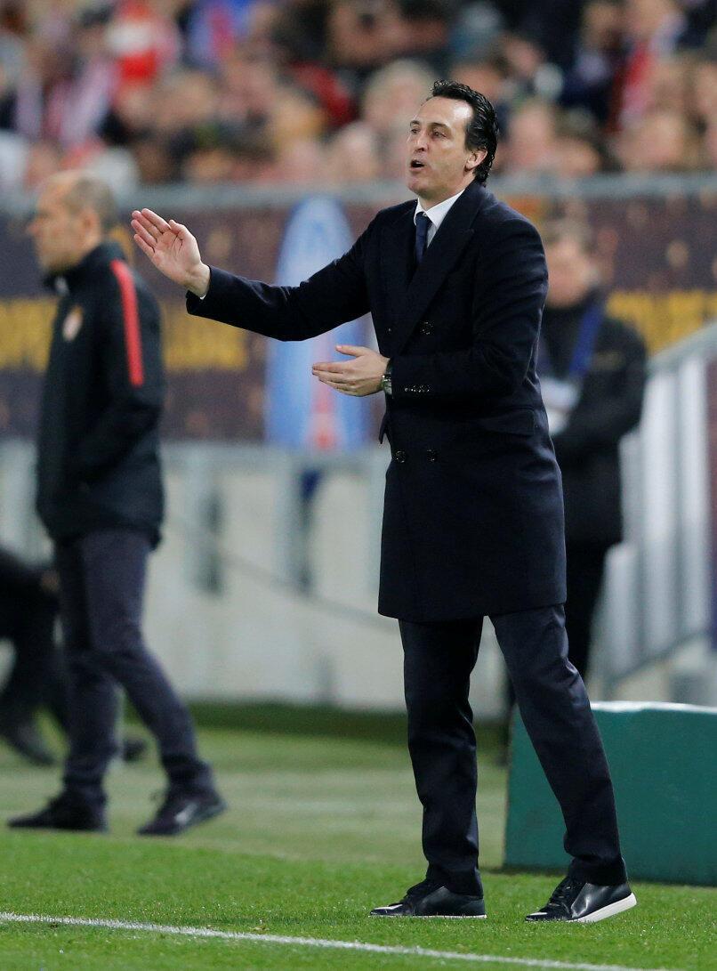 O treinador espanhol do PSG, Unai Emery, durante jogo contra o Mônaco no final da Copa da Liga francesa.
