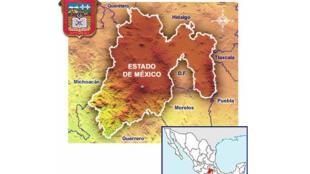 Mapa del Estado de México (México).