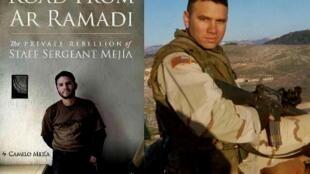 """El objetor de conciencia, sargento Camilo Mejía, y la portada de su libro """"Road from Ar Ramadi"""""""