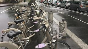 Velib station near Bastille, first stretch of the new 'bicycle highway'