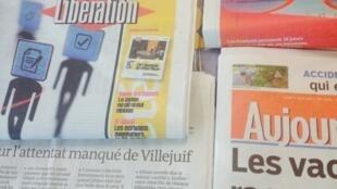 Primeira páginas dos diários franceses de 3/08/2015