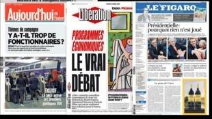 Capas dos jornais franceses desta segunda-feira, 3 de abril de 2017.