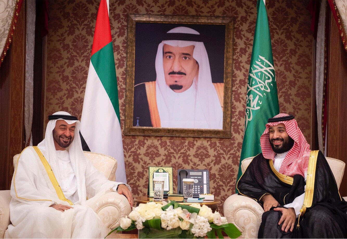 Abu Dhabi's Crown Prince Sheikh Mohammed bin Zayed al-Nahyan meets with Saudi Crown Prince Mohammed bin Salman during the Saudi-UAE Summit in Jeddah, Saudi Arabia, June 6, 2018.