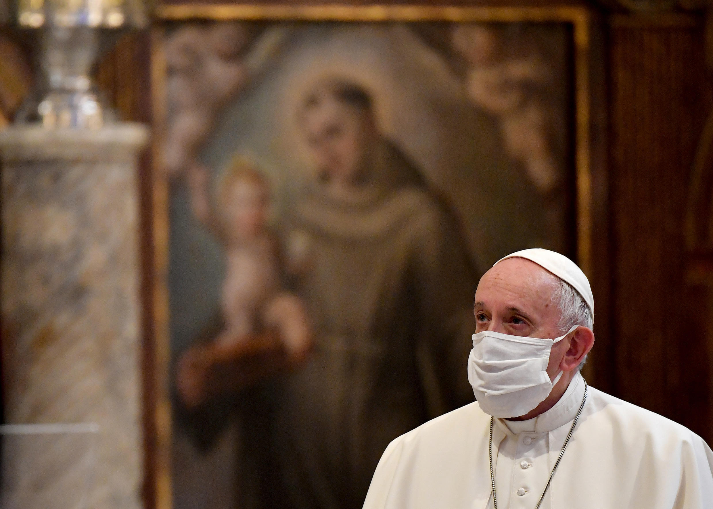 """Pope Francis, pictured October 2020 wearing a protective face mask, railed against people who claim """"that being forced to wear a mask is an unwarranted imposition by the state"""""""