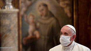 "Pope Francis, pictured October 2020 wearing a protective face mask, railed against people who claim ""that being forced to wear a mask is an unwarranted imposition by the state"""