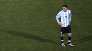 Lionel Messi en el estadio nacional de Santiago, el 4 de julio de 2015 en el final de la Copa América del año pasado.