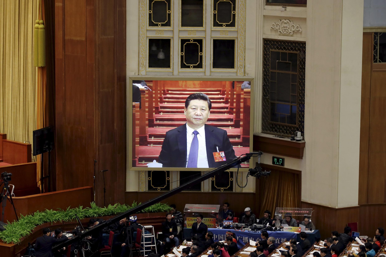Hình ông Tập Cận Bình tại phiên khai mạc Quốc Hội Trung Quốc, ngày 05/03/2016.
