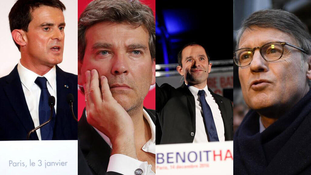 4 candidatos das primárias de Esquerda: Manuel Valls, Arnaud de Montebourg, Benoît Hamon e Vincent Peillon.