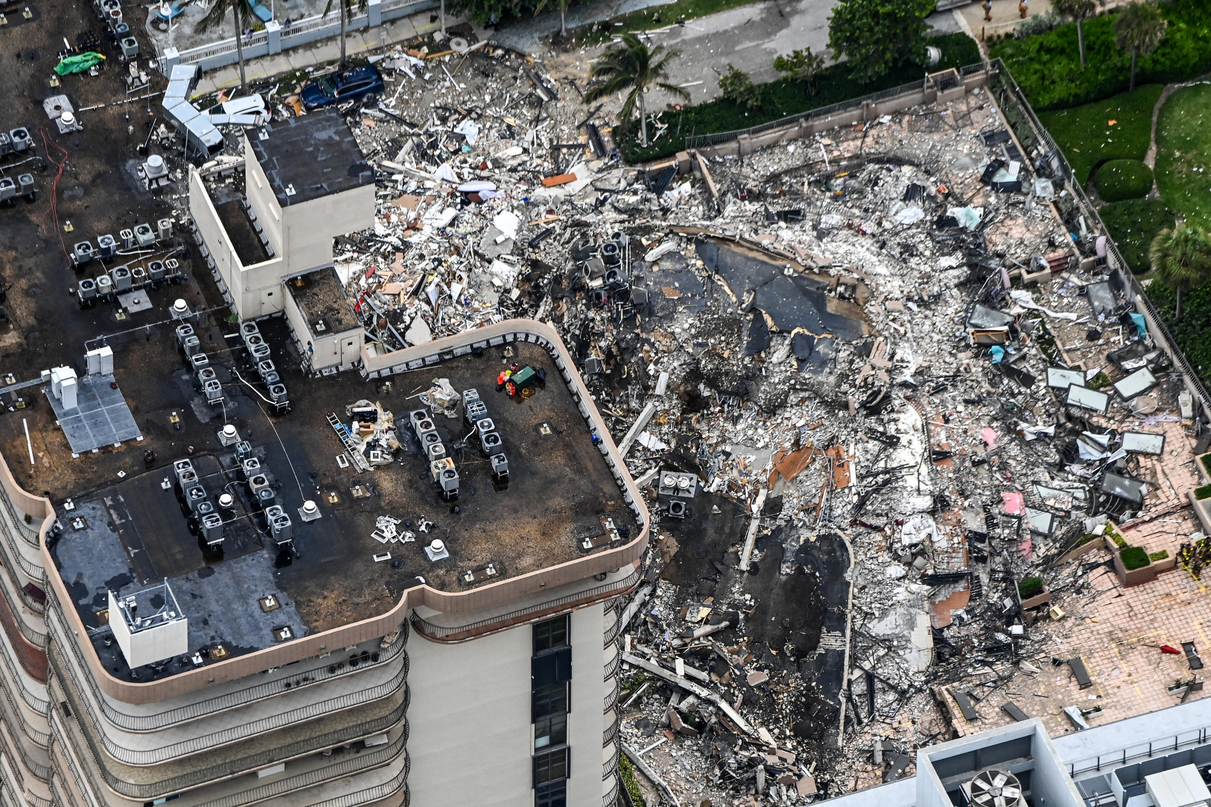 Search and rescue personnel working on site after the partial collapse of Champlain Towers in Surfside, Florida