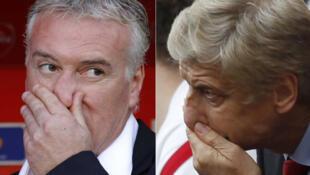 Coup de froid cette saison pour Didier Deschamps (g.), l'entraîneur de Marseille, et Arsène Wenger (d.), celui d'Arsenal.