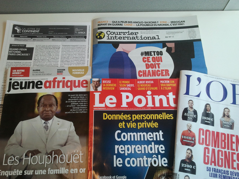Capas de magazines news franceses de 27 de janeiro de 2018