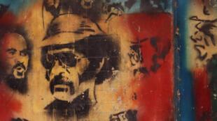 Portrait d'Eloi Machoro sur un mur de Nakety, la tribu natale du leader indépendantiste.