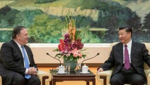 Ngoại trưởng Mỹ Mike Pompeo hội kiến chủ tịch TQ Tập Cận Bình tại Bắc Kinh ngày 14/06/2018.
