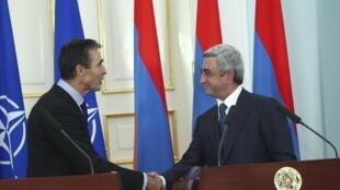 Серж Саргсян и Андерс фог Расмуссен на пресс-конференции в Ереване 06/09/2012