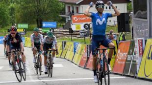 L'Espagnol Alejandro Valverde vainqueur de la 6e étape du Dauphiné Libéré, entre Loriol-sur-Drôme et Le Sappey-en-Chartreuse, le 4 juin 2021
