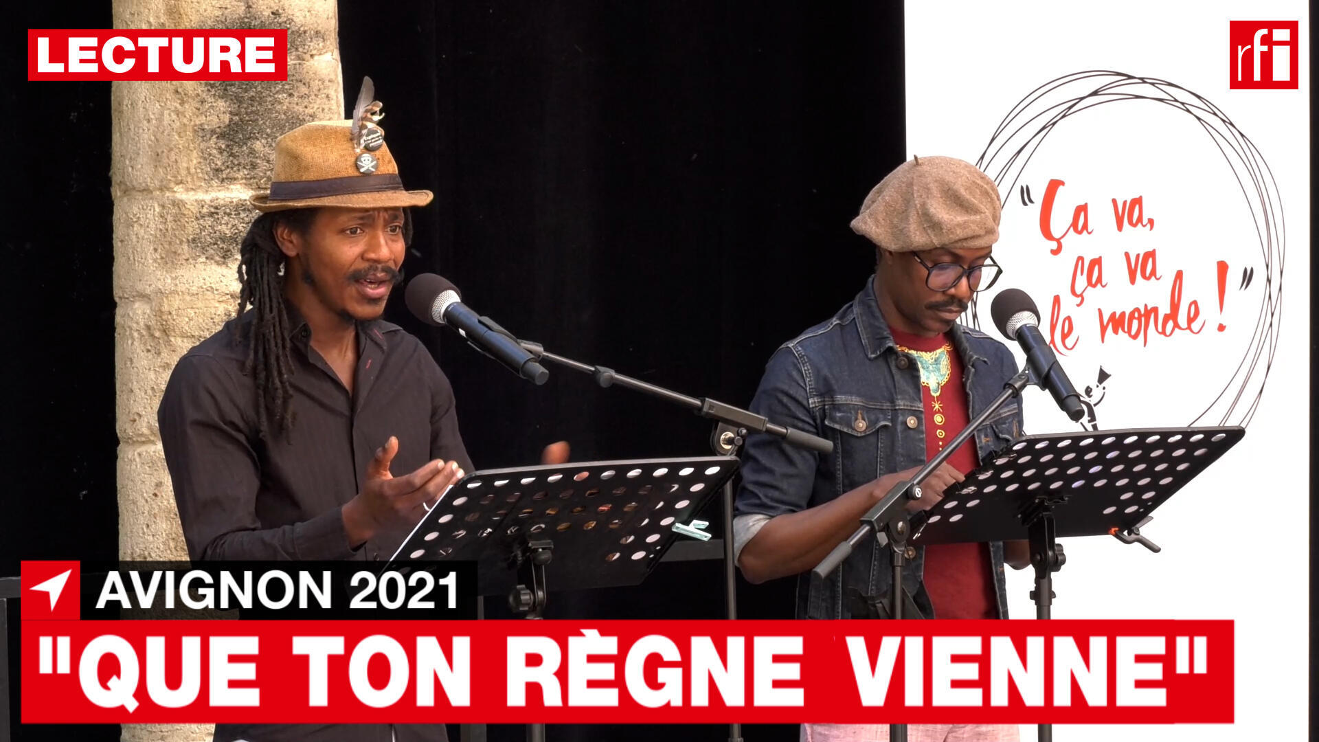 """Vladimir Delva and Guy Regis Junior, during the reading of """"Let your reign come"""", by Gaëlle Bien-Aimé."""