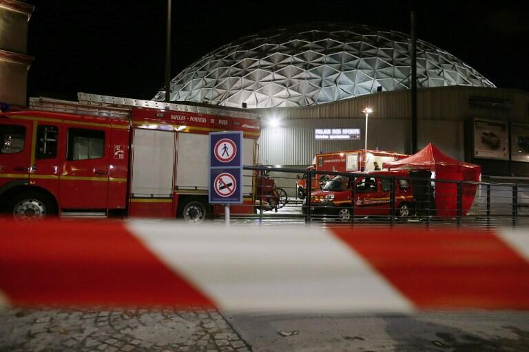 French firefighters arrive at the Palace of Sports at the Porte de Versailles in Paris following a blast 8 November 2013