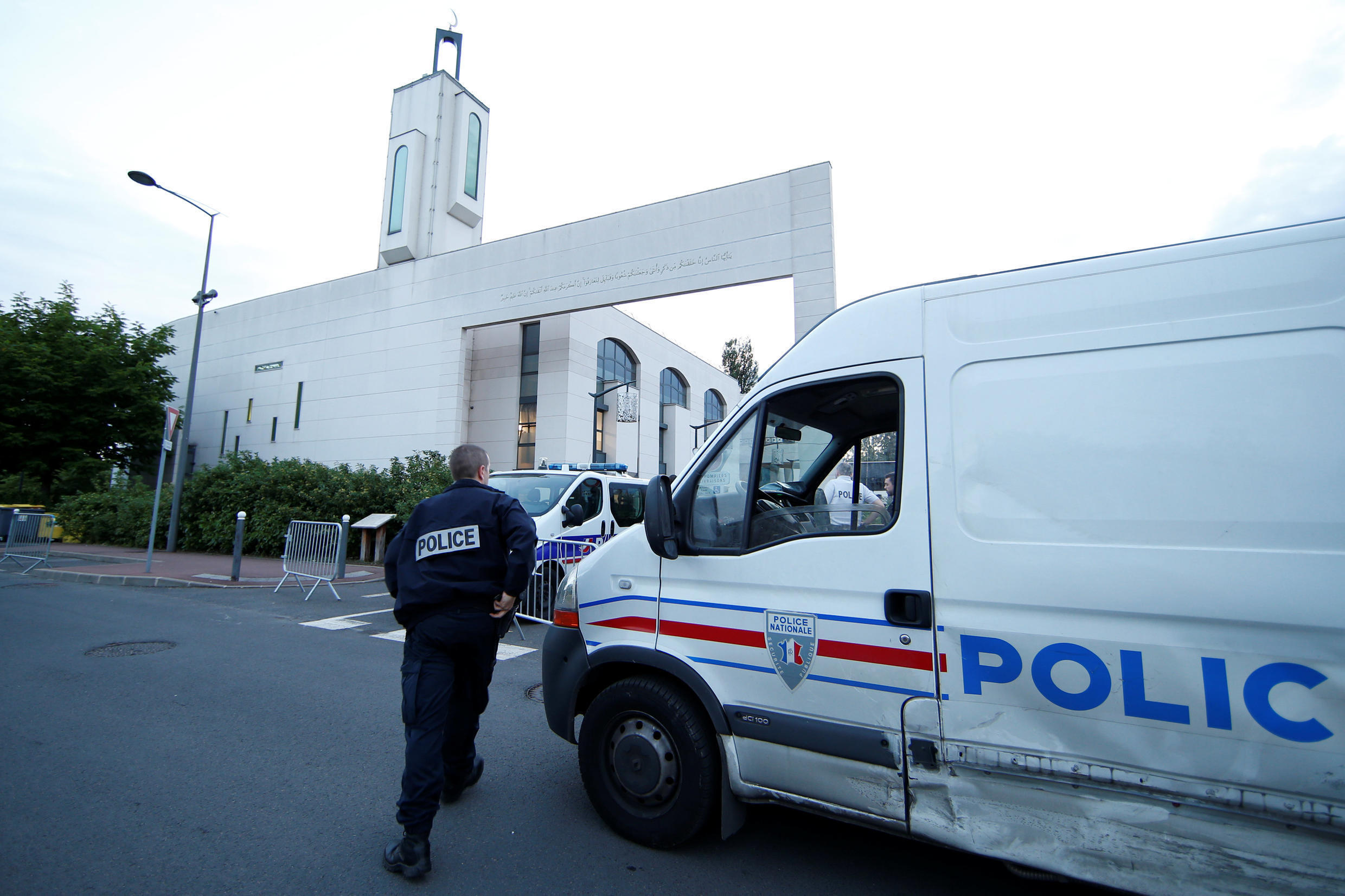 Police secure a mosque in Creteil near Paris, France June 29, 2017 after a man was arrested after trying to drive a car into a crowd in front of the mosque.