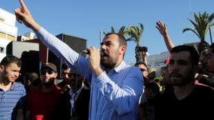 Nasser Zefzafi lors d'une manifestation à Al Hoceïma le 18 mai 2017. (Photo d'illustration)