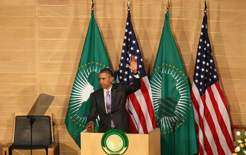 Barack Obama après son discours au siège de l'Union africaine à Addis-Abeba.