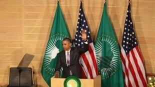 Barack Obama après son discours, au siège de l'Union Africaine à Addis-Abeba.