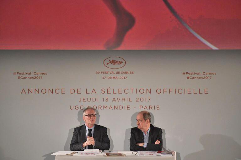 """""""پیر لسکور"""" رییس جشنواره کن به همراه """"تیری فرمو""""  (سمت چپ) مدیر اجرایی این جشنواره، در نشست خبری هفتادمین جشنواره کن در پاریس."""