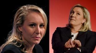 Marion Maréchal-Le Pen et la présidente du Front national, Marine Le Pen.
