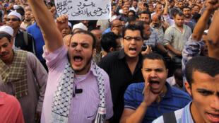 Photo d'une précédente manifestation, au Caire, en 2012, contre les bombardements à Gaza par l'armée israélienne lors de l'opération «Pilier de défense».