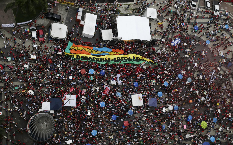 Manifestation de soutien à la présidente Dilma Rousseff, ce 31 mars à Rio de Janeiro.