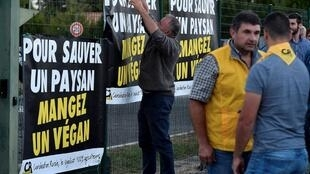 """To save a farmer eat a vegan,"" a banner declares as farming unionists confront members of 269 Life Libération Animale outside a poulty slaughterhouse on Wednesday"